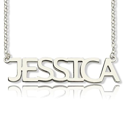 """Halskette """"Jessica"""" mit Namen in Blockbuchstaben, Sterling Silber"""