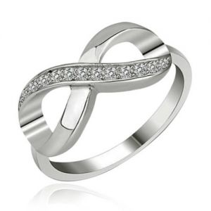 Infinity-Ring Crystal Love Sterling Silber